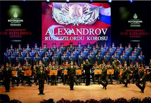 Rock musician and military choir on the same stage