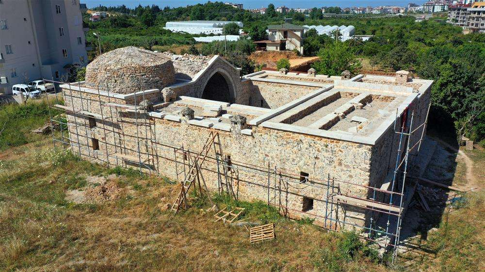 Restoration of a historical object is underway in Alanya